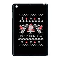 Motorcycle Santa Happy Holidays Ugly Christmas Black Background Apple iPad Mini Case (Black)