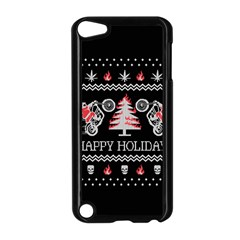 Motorcycle Santa Happy Holidays Ugly Christmas Black Background Apple iPod Touch 5 Case (Black)