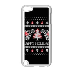 Motorcycle Santa Happy Holidays Ugly Christmas Black Background Apple iPod Touch 5 Case (White)
