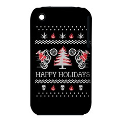 Motorcycle Santa Happy Holidays Ugly Christmas Black Background iPhone 3S/3GS