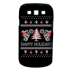 Motorcycle Santa Happy Holidays Ugly Christmas Black Background Samsung Galaxy S III Classic Hardshell Case (PC+Silicone)