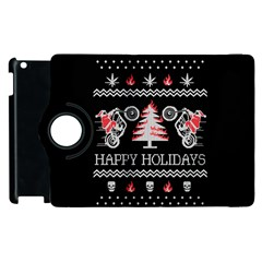 Motorcycle Santa Happy Holidays Ugly Christmas Black Background Apple iPad 3/4 Flip 360 Case