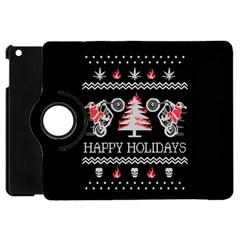 Motorcycle Santa Happy Holidays Ugly Christmas Black Background Apple iPad Mini Flip 360 Case