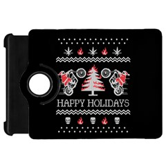 Motorcycle Santa Happy Holidays Ugly Christmas Black Background Kindle Fire HD 7