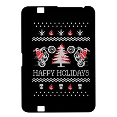 Motorcycle Santa Happy Holidays Ugly Christmas Black Background Kindle Fire HD 8.9
