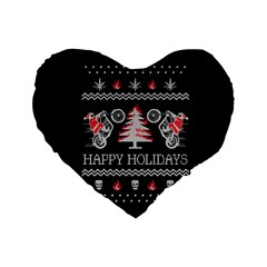 Motorcycle Santa Happy Holidays Ugly Christmas Black Background Standard 16  Premium Heart Shape Cushions