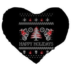 Motorcycle Santa Happy Holidays Ugly Christmas Black Background Large 19  Premium Heart Shape Cushions