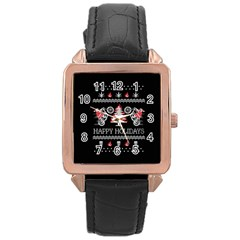 Motorcycle Santa Happy Holidays Ugly Christmas Black Background Rose Gold Leather Watch