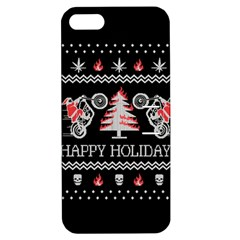 Motorcycle Santa Happy Holidays Ugly Christmas Black Background Apple iPhone 5 Hardshell Case with Stand