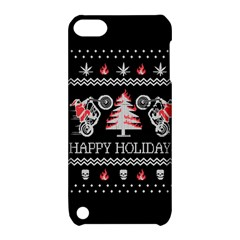 Motorcycle Santa Happy Holidays Ugly Christmas Black Background Apple iPod Touch 5 Hardshell Case with Stand