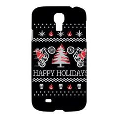 Motorcycle Santa Happy Holidays Ugly Christmas Black Background Samsung Galaxy S4 I9500/I9505 Hardshell Case