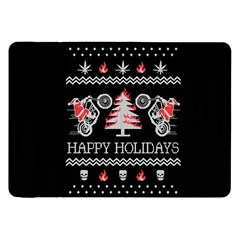 Motorcycle Santa Happy Holidays Ugly Christmas Black Background Samsung Galaxy Tab 8.9  P7300 Flip Case