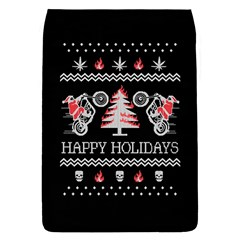Motorcycle Santa Happy Holidays Ugly Christmas Black Background Flap Covers (S)
