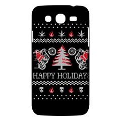 Motorcycle Santa Happy Holidays Ugly Christmas Black Background Samsung Galaxy Mega 5.8 I9152 Hardshell Case