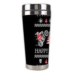 Motorcycle Santa Happy Holidays Ugly Christmas Black Background Stainless Steel Travel Tumblers
