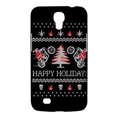 Motorcycle Santa Happy Holidays Ugly Christmas Black Background Samsung Galaxy Mega 6.3  I9200 Hardshell Case