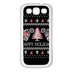 Motorcycle Santa Happy Holidays Ugly Christmas Black Background Samsung Galaxy S3 Back Case (White)
