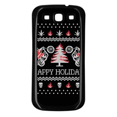 Motorcycle Santa Happy Holidays Ugly Christmas Black Background Samsung Galaxy S3 Back Case (Black)
