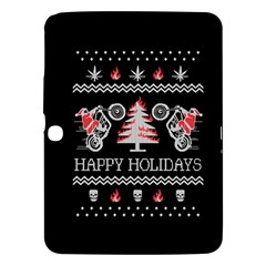 Motorcycle Santa Happy Holidays Ugly Christmas Black Background Samsung Galaxy Tab 3 (10.1 ) P5200 Hardshell Case