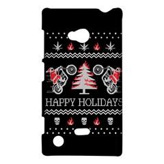 Motorcycle Santa Happy Holidays Ugly Christmas Black Background Nokia Lumia 720