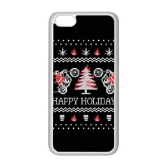 Motorcycle Santa Happy Holidays Ugly Christmas Black Background Apple iPhone 5C Seamless Case (White)
