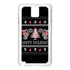 Motorcycle Santa Happy Holidays Ugly Christmas Black Background Samsung Galaxy Note 3 N9005 Case (White)