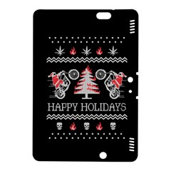 Motorcycle Santa Happy Holidays Ugly Christmas Black Background Kindle Fire HDX 8.9  Hardshell Case