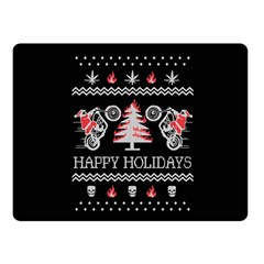 Motorcycle Santa Happy Holidays Ugly Christmas Black Background Double Sided Fleece Blanket (Small)