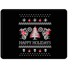 Motorcycle Santa Happy Holidays Ugly Christmas Black Background Double Sided Fleece Blanket (Large)