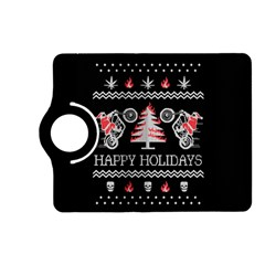 Motorcycle Santa Happy Holidays Ugly Christmas Black Background Kindle Fire HD (2013) Flip 360 Case