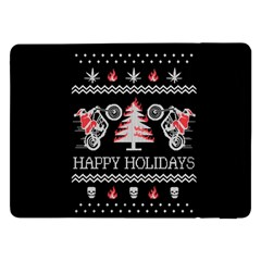 Motorcycle Santa Happy Holidays Ugly Christmas Black Background Samsung Galaxy Tab Pro 12.2  Flip Case
