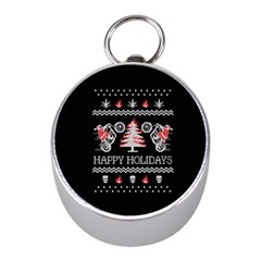 Motorcycle Santa Happy Holidays Ugly Christmas Black Background Mini Silver Compasses