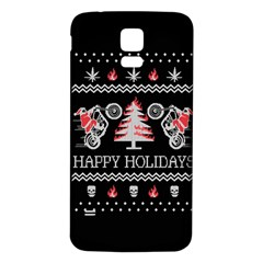 Motorcycle Santa Happy Holidays Ugly Christmas Black Background Samsung Galaxy S5 Back Case (White)