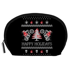 Motorcycle Santa Happy Holidays Ugly Christmas Black Background Accessory Pouches (large)