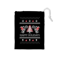 Motorcycle Santa Happy Holidays Ugly Christmas Black Background Drawstring Pouches (Medium)