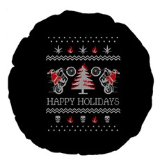 Motorcycle Santa Happy Holidays Ugly Christmas Black Background Large 18  Premium Flano Round Cushions