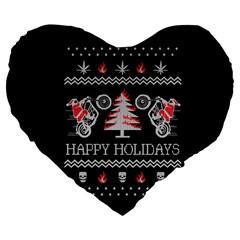 Motorcycle Santa Happy Holidays Ugly Christmas Black Background Large 19  Premium Flano Heart Shape Cushions