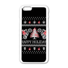 Motorcycle Santa Happy Holidays Ugly Christmas Black Background Apple iPhone 6/6S White Enamel Case
