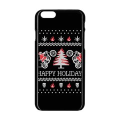 Motorcycle Santa Happy Holidays Ugly Christmas Black Background Apple iPhone 6/6S Black Enamel Case
