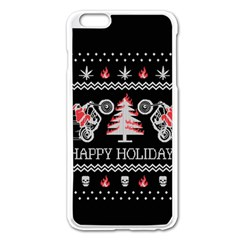 Motorcycle Santa Happy Holidays Ugly Christmas Black Background Apple iPhone 6 Plus/6S Plus Enamel White Case