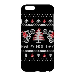 Motorcycle Santa Happy Holidays Ugly Christmas Black Background Apple iPhone 6 Plus/6S Plus Hardshell Case