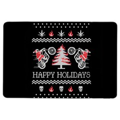 Motorcycle Santa Happy Holidays Ugly Christmas Black Background iPad Air 2 Flip