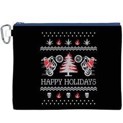 Motorcycle Santa Happy Holidays Ugly Christmas Black Background Canvas Cosmetic Bag (XXXL)