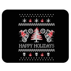 Motorcycle Santa Happy Holidays Ugly Christmas Black Background Double Sided Flano Blanket (Medium)