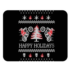 Motorcycle Santa Happy Holidays Ugly Christmas Black Background Double Sided Flano Blanket (Large)