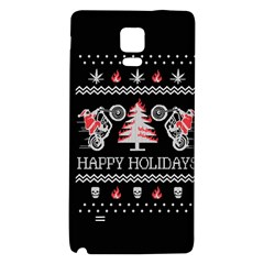 Motorcycle Santa Happy Holidays Ugly Christmas Black Background Galaxy Note 4 Back Case
