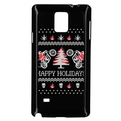 Motorcycle Santa Happy Holidays Ugly Christmas Black Background Samsung Galaxy Note 4 Case (Black)