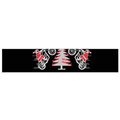 Motorcycle Santa Happy Holidays Ugly Christmas Black Background Flano Scarf (Small)