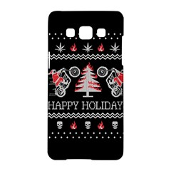 Motorcycle Santa Happy Holidays Ugly Christmas Black Background Samsung Galaxy A5 Hardshell Case