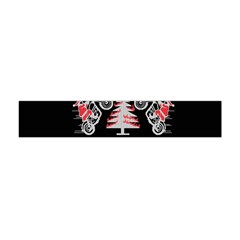 Motorcycle Santa Happy Holidays Ugly Christmas Black Background Flano Scarf (Mini)